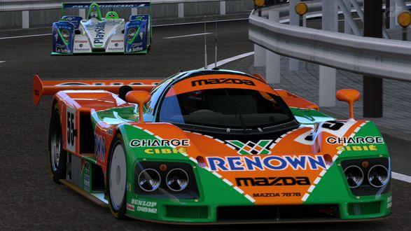 Обои Гоночный болид - Mazda / Мазда 787B Race Car на трассе R246, класс машин GT-R 1 (R1) из игры Gran Turismo / Гран Туризмо