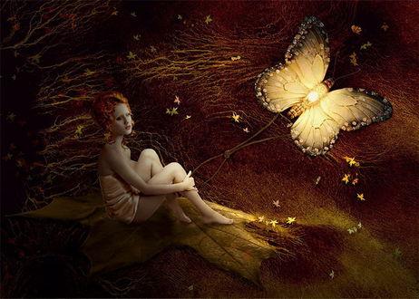 Обои Рыжеволосая девушка в коротком платье, сидящая на огромном осеннем листочке, держащая в руках веревку с петлей на конце с привязанной к другому концу светящейся бабочкой на фоне гнущихся от сильного ветра веток с осенними листьями, фотография Nataliorion