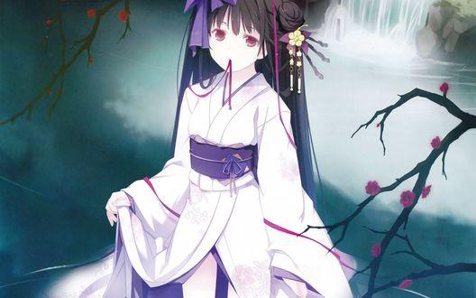 Обои Темноволосая девушка в кимоно стоит на фоне веток деревьев и воды