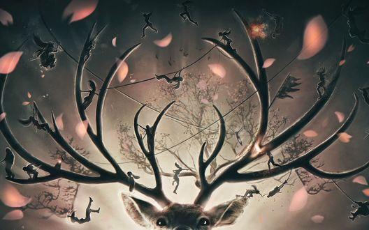 Обои Голова оленя с ветвистыми рогами, по которым прыгают фигурки людей, на фоне веток дерева и стаи птиц, художник Eddy Shinjuku / Эдди Синдзюку