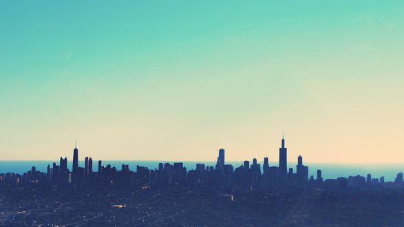 Обои Утреннее небо над спящим городом
