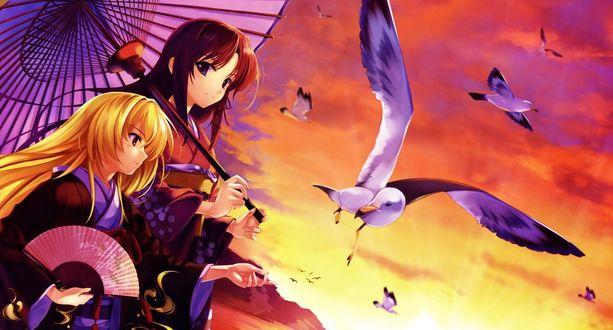 Обои Две девушки, одетые в кимоно, стоят на фоне закатного неба, в котором летают чайки