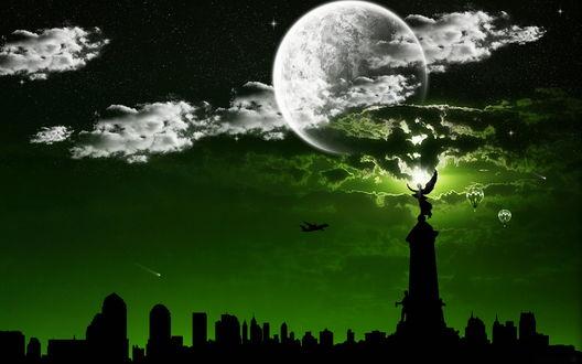 Обои Силуэты городских зданий, постамента с девушкой с ангельскими крыльями на его верхней части, на фоне звездного ночного неба с ярко светящейся луной, летящего пассажирского самолета, парящих в небе воздушных шаров