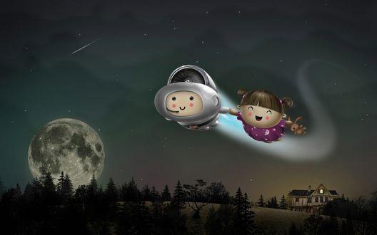Обои Мальчик, в скафандре, с турбиной на спине летит в ночном небе, держа за руку смеющуюся девочку