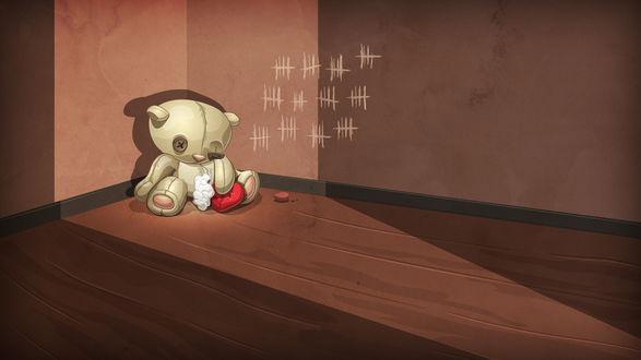 Обои Рваный плюшевый медведь с сердцем в лапе сидит на полу в пустой комнате, рядом лежит мелок
