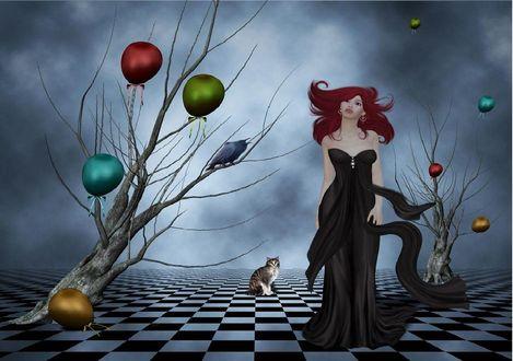 Обои Девушка в длинном платье стоит возле дерева с воздушными шарами, поодаль сидит кошка