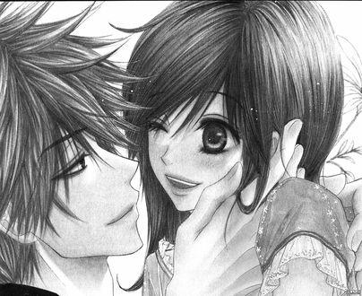Обои Парень и девушка улыбаются друг другу, парень нежно держит свою руку на лице девушки
