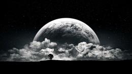 Обои луна черно белые 36
