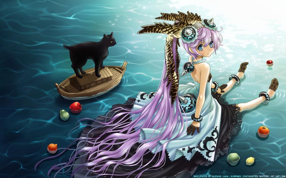 Обои для рабочего стола Девушка сидит на воде, в которой плавают фрукты, рядом на игрушечном корабле стоит черный кот