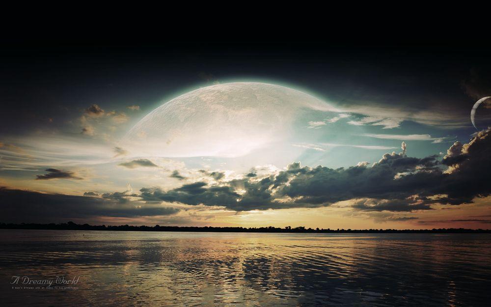 Обои для рабочего стола Озеро с видом на планету, A Dreamy World. A mans dreams are an index to his greatness / Мечтательный Мир. Мечты человека являются индексом его величия