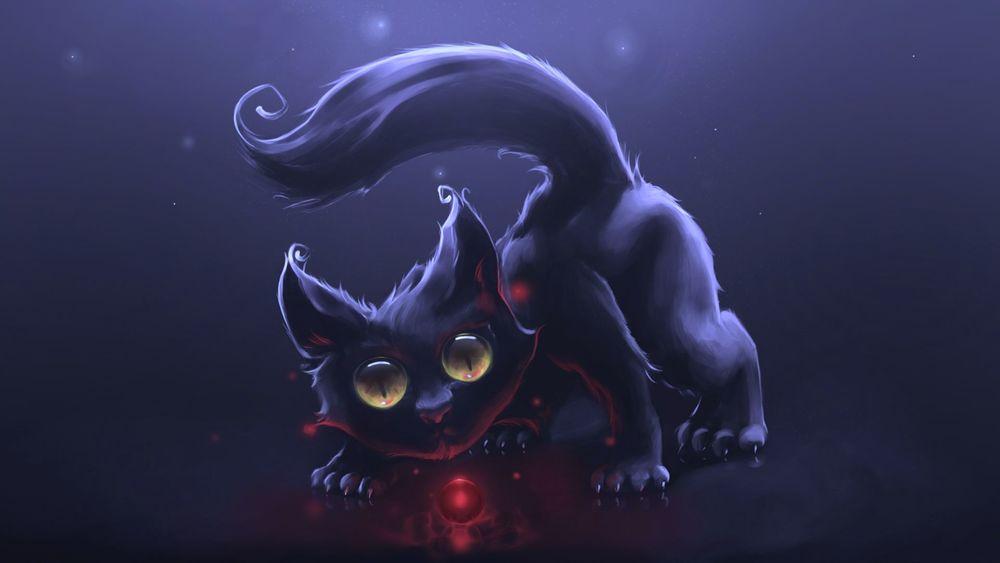 Обои рисованный кот