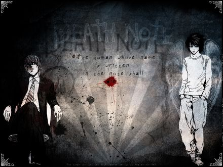 Обои Лайт Ягами / Light Yagami и Эль Лоулайт / L Lawliet из аниме Тетрадь Смерти / Death Note (The human whose name is written in the note shall die)