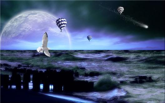 Обои Начинающийся на море шторм на фоне пасмурного неба, появившейся из-за линии горизонта планеты солнечной системы, парящей в небе чайки и воздушных шаров, падающей кометы