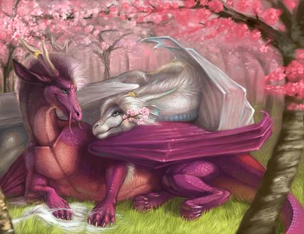 Обои Фиолетовый и белый драконы среди цветущих вишен