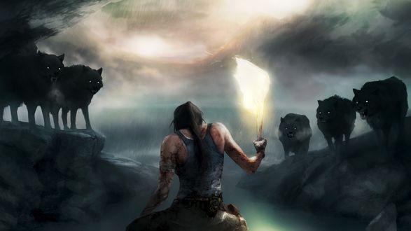 Обои Лара Крофт / Lara Croft перебинтованная и вся в крови держит в руках факел, чтобы отогнать волков, арт к игре Расхитительница гробниц / Tomb Raider