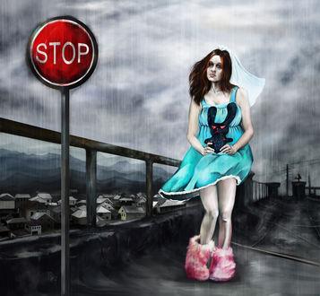 Обои Девушка в бирюзовом платье держит в руках черного зайца стоя возле преграды, рядом стоит знак на фоне серого неба и множества домиков (Stop / Стоп)