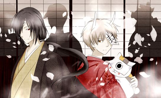 Обои Matoba Seiji / Матоба Сейджи, Natsume Takashi / Такаси Нацумэ и Nyanko-sensei / Нянко-сенсей из аниме Natsume's Book of Friends / Natsume Yuujinchou / Тетрадь дружбы Нацумэ