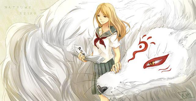 Обои Natsume Reiko / Рэйко Нацумэ и Madara / Мадара из аниме Natsume's Book of Friends / Natsume Yuujinchou / Тетрадь дружбы Нацумэ