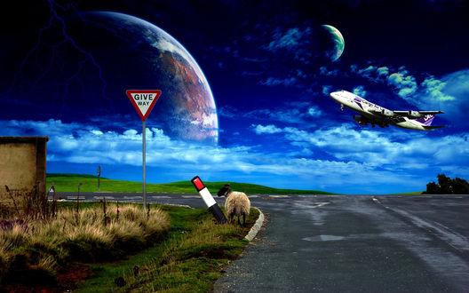 Обои Дорожный знак с надписью Give Way / Уступи дорогу, стоящий на зеленой обочине асфальтовой дороги, с находящейся недалеко от знака овцой, пощипывающей травку, на фоне голубого неба с небольшой облачностью, летящего пассажирского самолета, появившихся в небе планет и сверкающих молний