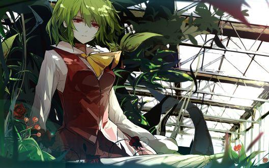 Обои Kazami Yuuka сидит с зонтом среди цветов, грустно смотря в сторону, из игры Проект Восток / Touhou
