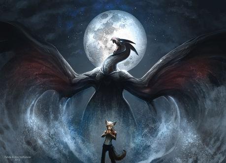 Обои Лиса ест, в то время как за ее спиной из моря вылез монстр, расправив крылья на фоне ночного неба и луны, художники Falfie AlectorFencer