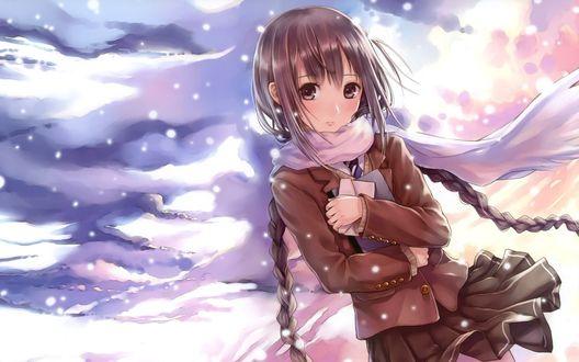Обои Девушка школьница с двумя косичками держит в руках книгу и письмо на фоне неба и падающего снега