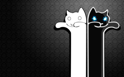Обои Два длинных кота: белый и черный со светящимися синими глазами, на сером фоне с узорами