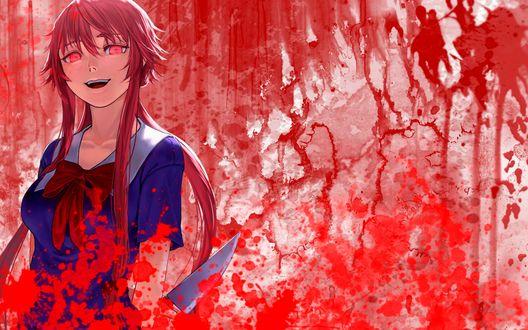 Обои Gasai Yuno / Юно Гасай с ножом в руке на окровавленном фоне, из аниме Mirai Nikki / Future Diary / Дневник Будущего