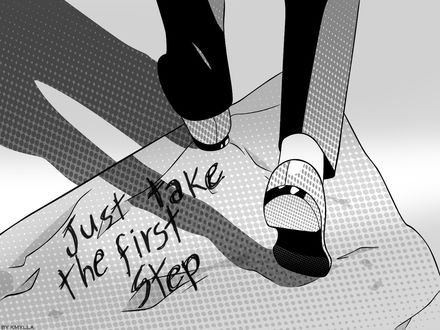 Обои Парень, стоящий на листе бумаги (Только сделай первый шаг / Just take the first step)