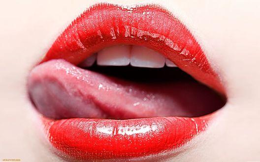Обои Из приоткрытого женского рта видно высунутый язык
