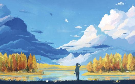 Обои Девушка осенью стоит у реки, по лесистым берегам которой гуляют сказочные существа, и смотрит в небо на облака