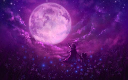 Обои Девочка ведет за руку плюшевого медвежонка и показывает на полную луну в фиолетовых облаках
