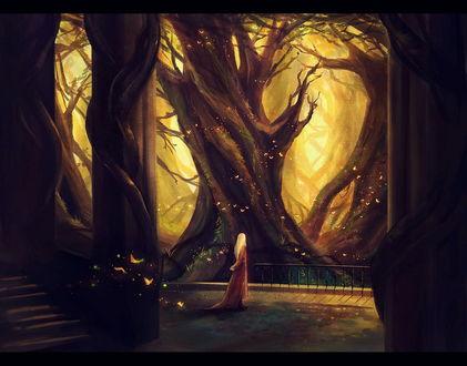 Обои Стройная светловолосая женщина, прогуливающая по бетонной смотровой площадке каменного дворца, стоящего в окружении могучих стволов деревьев и порхающих светящихся бабочек, работа индонезийской художницы Niken Anindita