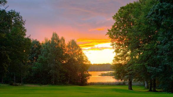 природа река солнце деревья  № 198652 бесплатно