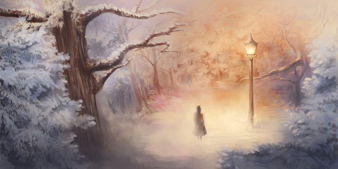 Обои Девушка гуляет в зимнем парке