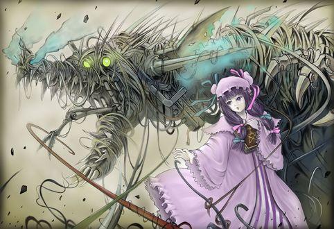 Обои Девушка с книгой в руках стоит рядом с монстром