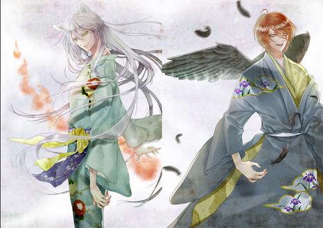Обои Синдзиро Курама / Shinjiro Kurama и Томоэ / Tomoe из аниме Очень приятно, Бог / Kamisama Hajimemashita