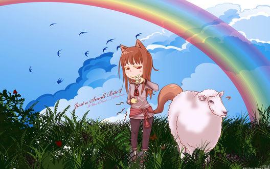 Обои Horo / Хоро из аниме Spice and Wolf / Волчица и пряности плотоядно улыбается, смотря на овцу стоящую рядом (Just a Small Bite? It Wont Hurt. I Promise.)