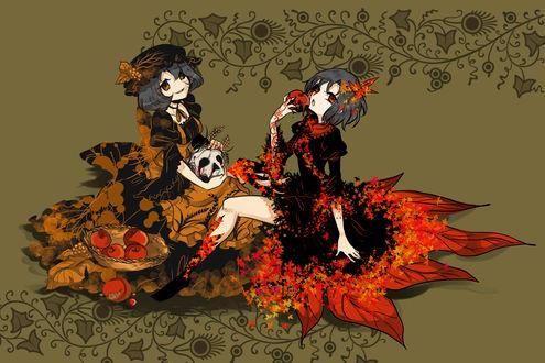 Обои Сестры Сидзуха и Минорико Аки / Shizuha & Minoriko Aki из аниме-игры Проект Тохо / Touhou Project by Shigureru