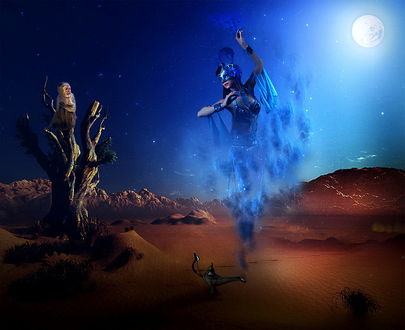 Обои Обезьяна, сидевшая на сухом стволе дерева, стоящего среди песчаных барханов пустыни, с удивлением смотрит на появившегося из металлического кувшина джина в виде парящей в воздухе восточной девушки в синей дымке на фоне ночного неба и ярко светящейся луны