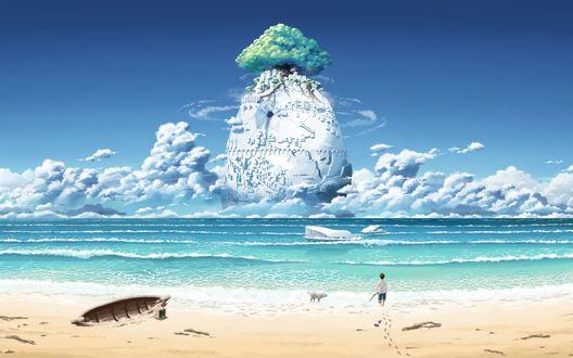 Обои Мальчик с палкой в руке стоит на берегу моря смотря на город стоящий в воде