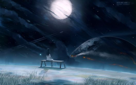 Обои Девочка сидит на лавочке на краю земли и смотрит на небесное пространство, работа lets get lost от автора KuldarLeement