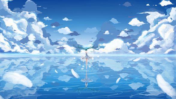 Обои Vocaloid Hatsune Miku / Вокалоид Хатсуне Мику идет по воде
