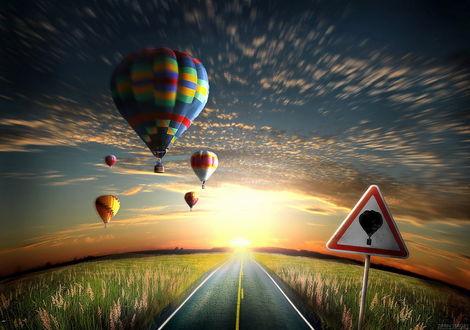 Обои Асфальтовая дорога, проходящая по полю с высокой зеленой травой и цветами мускари на фоне парящих в небе разноцветных воздушных шаров и ярко слепящего восходящего утреннего солнца, фотография выполнена при помощи широкоугольного объектива Сергеем Зиминым