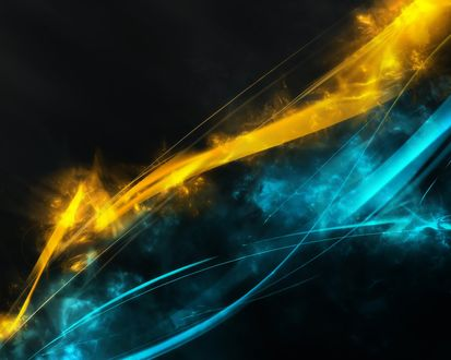 Обои Желто-синие линии на черном фоне