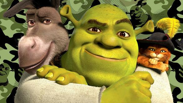 Обои Компьютерный полнометражный анимационный фильм Shrek 3 / Шрек-3 с персонажами из мультфильма