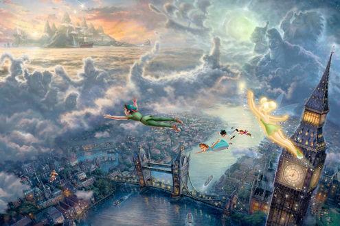 Обои Картина Питрер Пэн / Peter Pan из коллекции Диснеевские Мечты / Disney Dreams, художник Томас Кинкейд / Thomas Kinkade