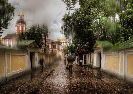 Обои Дождь, идущий на улицах Санкт-Петербурга, Россия / Saint-Petersburg, Russia, фотография выполнена через оконное стекло фотографом Эдуардом Гордеевым