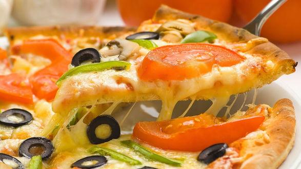 Обои Пицца с оливками, помидорами, зеленым перцем и большим количеством сыра