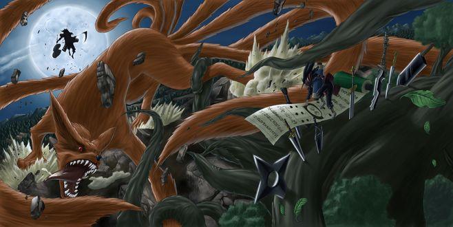 Обои Курама / Kurama и Мадара Учиха / Uchiha Madara из аниме Наруто / Naruto